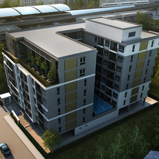Site Location : Nonthaburi, Thailand Construction Area : 6,440 m2 (8 storey , Office, Laundry and parking at ground floor, Swimming pool at 2nd floor, 125 room units)